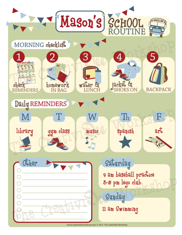 School Routine Chart - Boy Theme