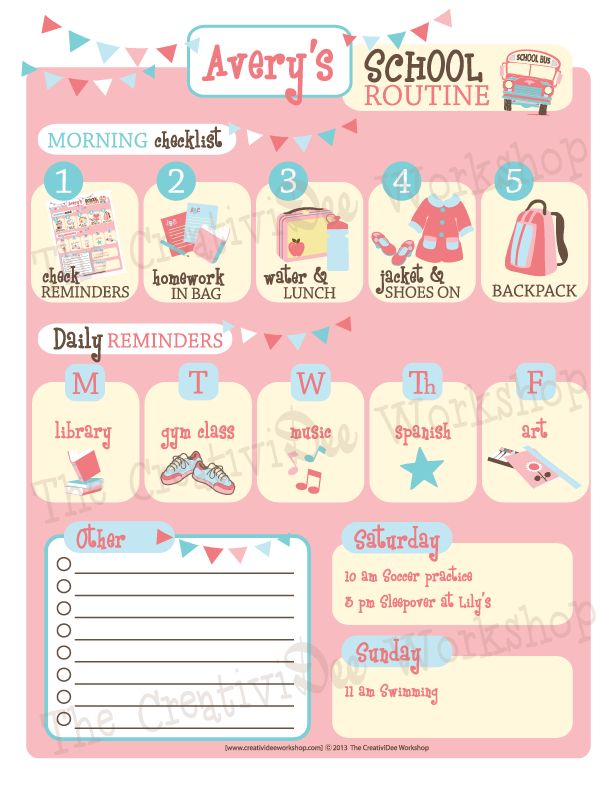 School Routine Chart - Girl Theme