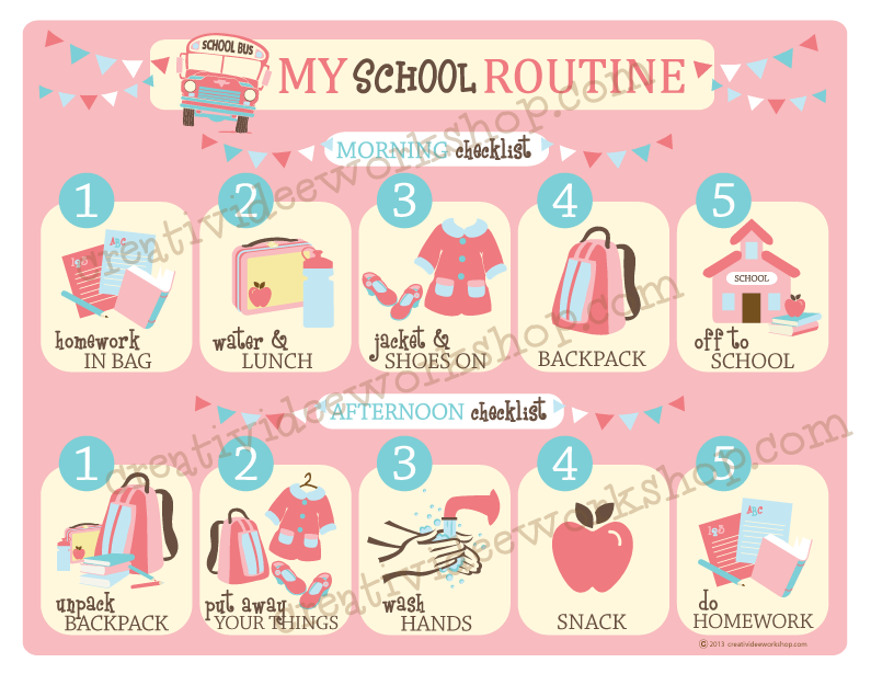 School Routine Chart - Girl